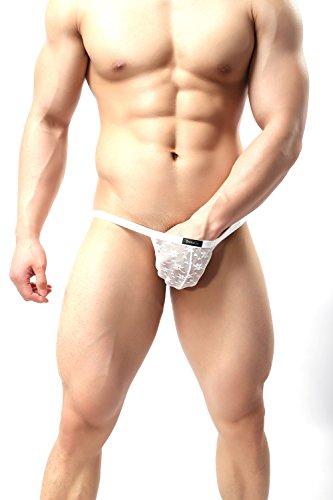 DomiGe Sheer Mesh See-through Bikini Underwear, Mens, Five Colors (XL, White)