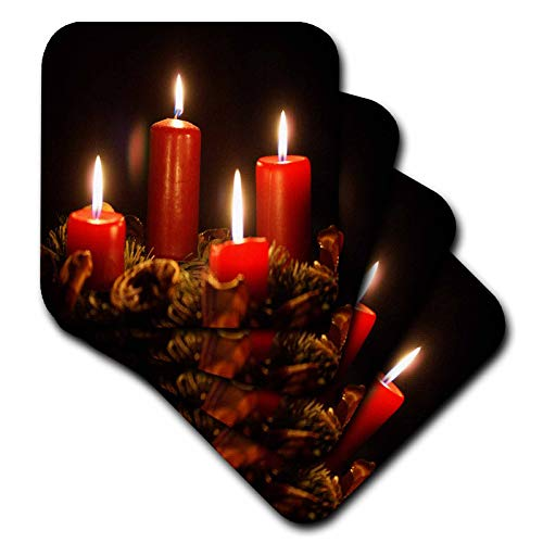 3dRose Taiche - Photography - Christmas - Red Advent Calendar Candles Burning With Black Background - set of 8 Coasters - Soft (cst_181633_2) ()