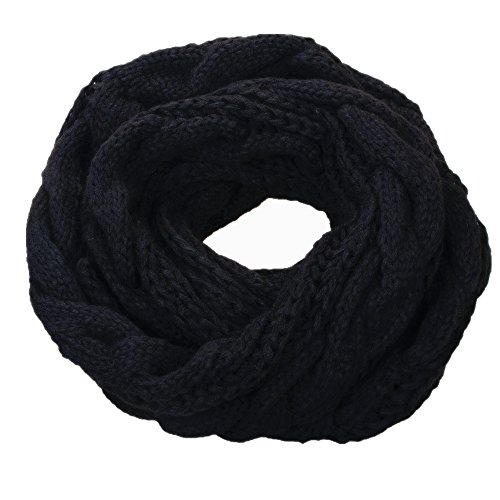 NEOSAN Womens Thick Ribbed Knit Winter Infinity Circle Loop Scarf Twist Black (Crochet Pattern For Infinity Scarf With Buttons)