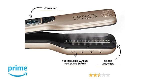 SAINT ALGUE Demeliss STEAM - Cepillo Alisador Profesional con Tecnología de Vapor, para Todo tipo de Cabello, hasta 230 °, Revestimiento de Cerámica, ...