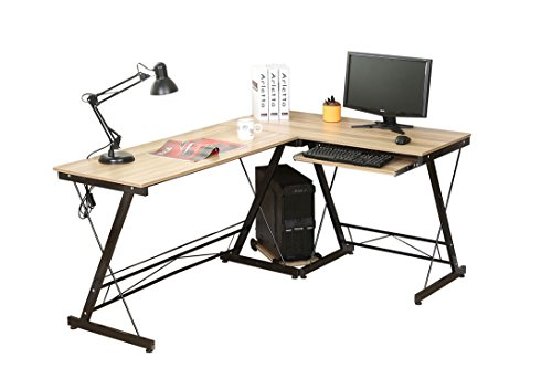 HLC L Shaped Computer Desk with Pull-out Keyboard Shelf and CPU Storage Stand Yellow