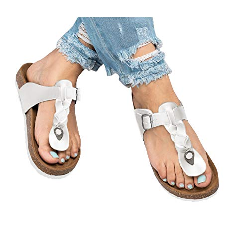 Ruanyu Womens Thong Sandals Flatform Summer Comfortable Braided T-Strap Sandals