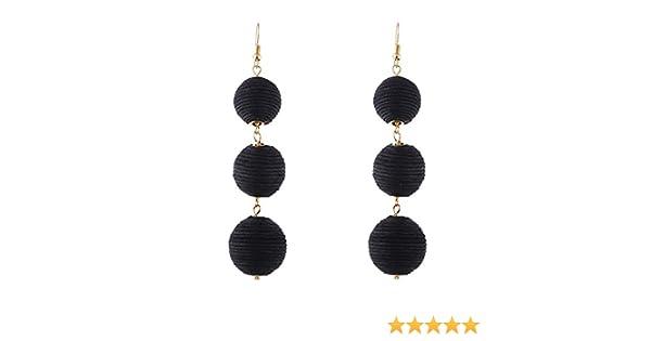 Amazon Com Fashion Design Tassels Earrings Handmade Weaving Winding Ball Long Eardrop Earrings Jewelry Gifts For Women Girls Black