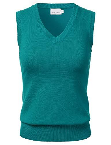 Women's Solid Classic V-Neck Sleeveless Pullover Sweater Vest Top DarkGreen L