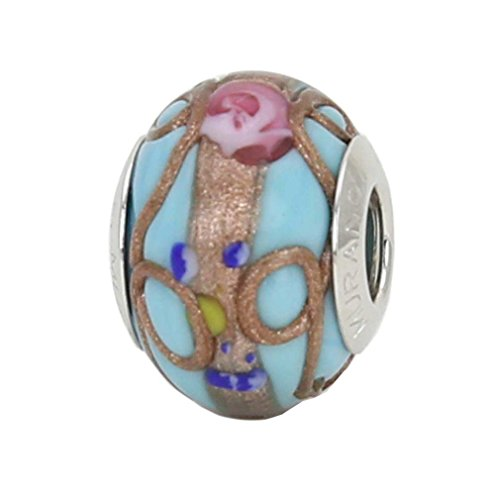 GlassOfVenice Murano Glass Sterling Silver Fiorato Aqua Charm Bead (Murano Aqua Bracelets)