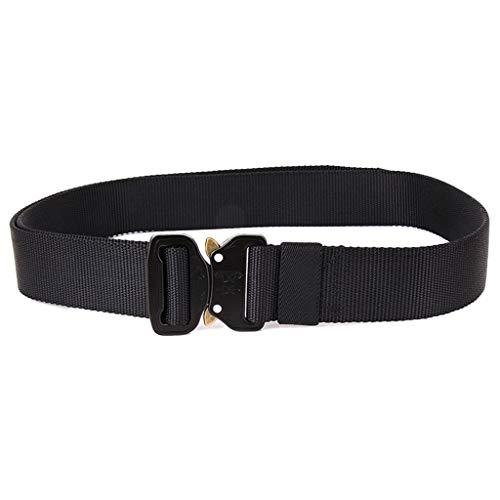 Hattfart Men Tactical Buckle Belt Heavy Duty Metal Buckle Military Webbing Nylon Belt Training Strap (Black) by Hattfart (Image #2)