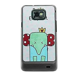 HC- Elefante de la historieta del patrón de venas de piel del estuche rígido para Samsung Galaxy S2 i9100