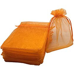 YIJUE 100pcs 4x6 Inches Drawstrings Organza Gift Candy Bags Wedding Favors Bags (Orange)