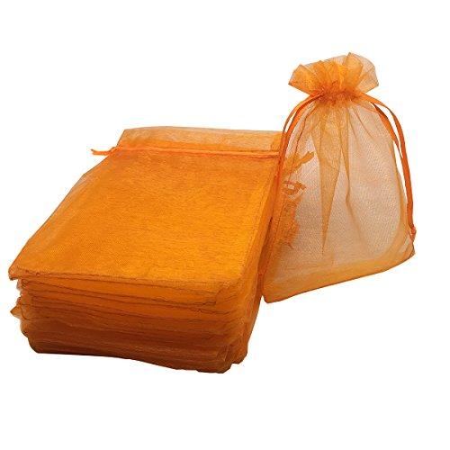 Orange Organza Bags - YIJUE 100pcs 4x6 Inches Drawstrings Organza Gift Candy Bags Wedding Favors Bags (Orange)