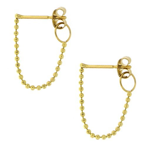 Automic Gold Solid 14k Yellow Gold Chain Loop Earrings (14k Yellow Gold Chain Earrings)