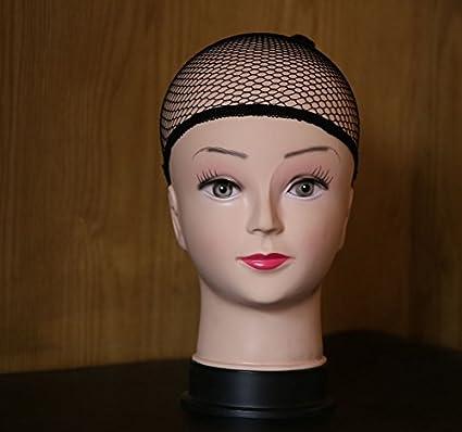 Wendy Hair - Juego de 3 tapones para peluca de malla negra para extensiones de peluca