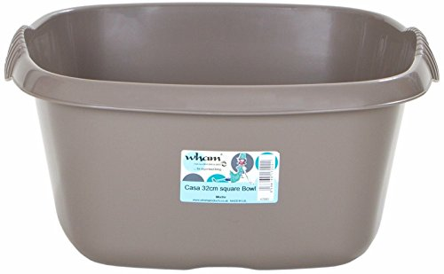 Silver//Grey 32cm Plastic Square Washing Up Bowl Sink Tidy Basin Mixing Kitchen Caddy Dessert Serving Bowls