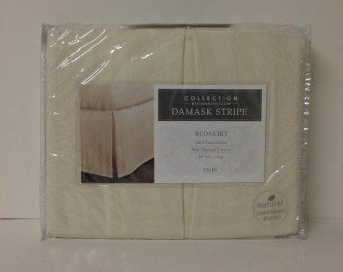 Charter Club Damask Stripe 500 Thread Count Twin Bedskirt Natural (500 Thread Count Damask Stripe Bed Skirt)