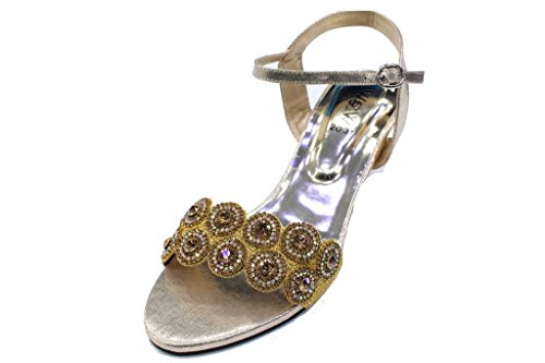 on W 2031 Femmes SAN Doré W Chaussures Slip Soirée Sandales amp; Diamante qXaXxgr