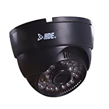HDE Wide Angle Surveillance Security Camera 48 LED IR Night Vision Color CCD Indoor Dome CMOS Cam (Black)
