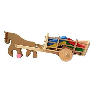 Obique Juguete De Madera para Niños Caballo Y Carro con Bloques De Construcción Coloridos: Amazon.es: Juguetes y juegos