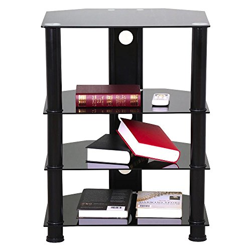 rner TV Stand with Cable Management Black Glass Media Storage Tower Shelves (Plasma Tv Media Cabinets)