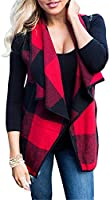 noabat Womens Open Front Cardigan Plaid Vest Sleeveless Outwear with Pockets