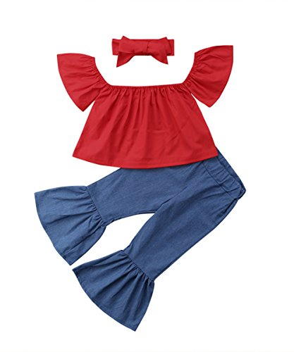 Summer Toddler Baby Kids Girls Off Shoulder Tops Flared Pants Outfits Set 1-5Y (12-18 Months) - Cropped True Jeans