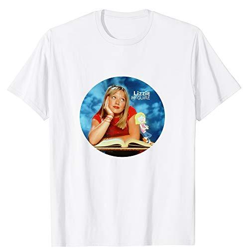 Lizzie McGuire Circle Hilary Duff Drawing Logo Actor Movie Cinema Film Vintage Gift Men Women Girls Unisex T-Shirt (White-2XL) (Lizzie Mcguire Best Friend)
