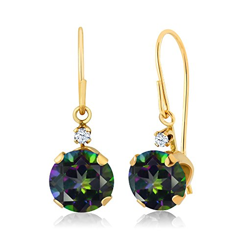 - 2.03 Ct Round Green Mystic Topaz 14K Yellow Gold Earrings