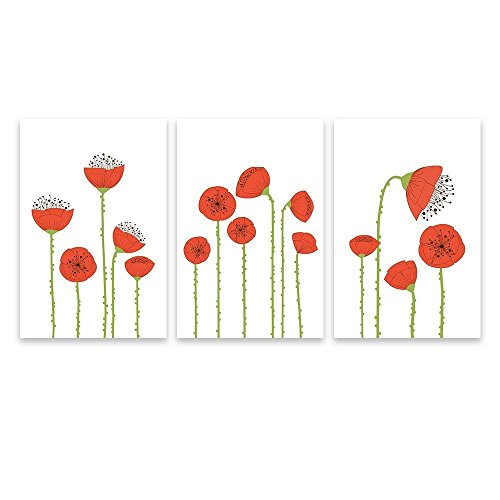 3 Panel Hand Drawing Style Red Poppy Flowers x 3 Panels
