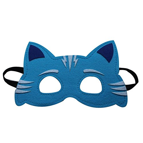 Face mask Shield Veil Guard Screen Domino False Front Child mask Goggles cat Kid mask Role Playing Azure cat by PromMask