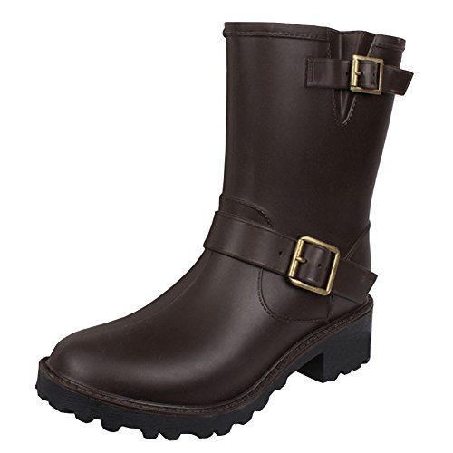 Women's Fashion Mid Calf High Waterproof Pull On Ankle Rain Boots Brown YjAxsvf