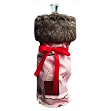 Mad Bomber Reusable Camo Fabric With Fur Wine or Liquor Bottle Cover Gift Bag Camo Print with Fur (Pink)