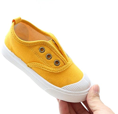DADAWEN Baby's Boy's Girl's Canvas Light Weight Slip-On Loafer Casual Running Sneakers Yellow US Size 7 M Toddler by DADAWEN (Image #2)