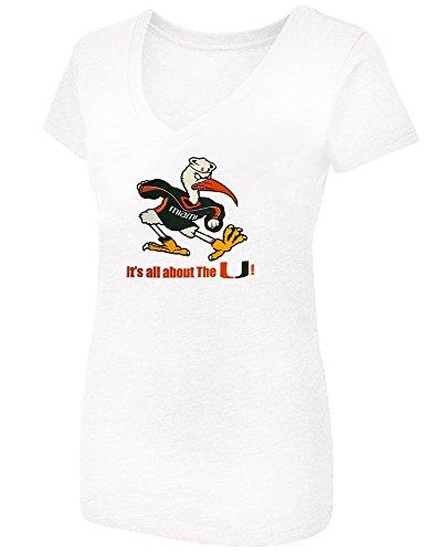 Colosseum Women's University of Miami Hurricanes Sebastian Ibis Attitude V-Neck Tagless Tee, XX-Large