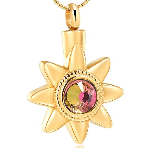 Imrsanl Sun Flower Cremation Jewelry for Ashes【Memorial Urn Necklace】 Colorful Birthstone Crystal Keepsake Pendant (Gold)