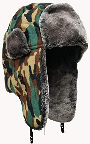 Variety To Go Winter Hat with Ear Flaps, Trooper Trapper Hat, Windproof Waterproof and Breathable, Faux Fur Hunting Hat, Snow Hat, (Camo (Black, Green))