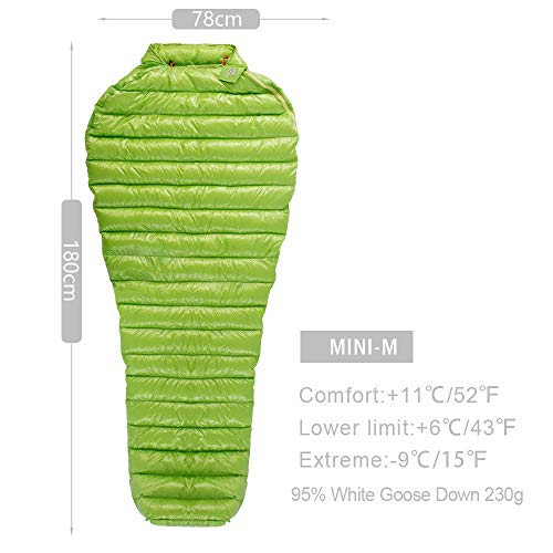 AEGISMAX Mini Series Outdoor Camping Ultra-Light Hiking Down Sleeping Bag Spring Autumn Summer Three Season White Goose Down Mummy Sleeping Bag (M Green 180x78cm) ()
