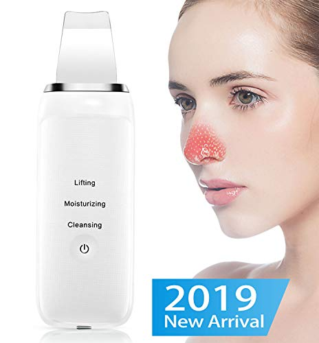 Skin Scrubber - ALSTEN Blackhead Remover - 3 in 1 Ultrasonic Face Pores Cleaner - Facial Scrubber Spatula - Comedones Extractor for Facial Deep Cleansing