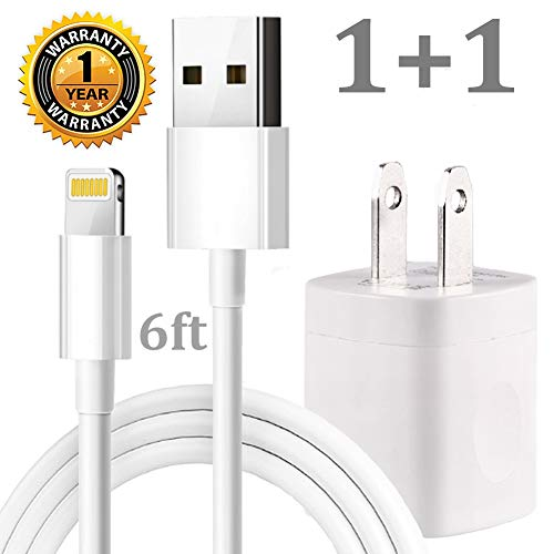 Accessories Cable Kit Data (iPhone Chargig Kit, Pack of 6FT USB Data Sync Cable Charging Cord with Cube Wall AC Charger Brick Power Adapter Plug Compatible with iPhone Xr Xs X Max 8 7 6 5 SE Pad Pro Mini Air - White)