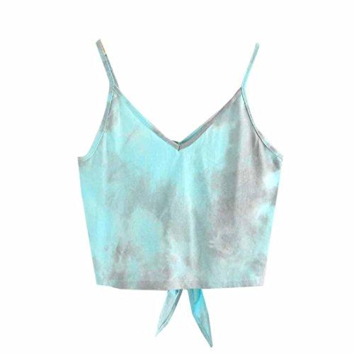 manches T shirt sans Tefamore loisirs mode court Bleu gilet sexy Ciel ❤️Femmes Yx7qwSA0