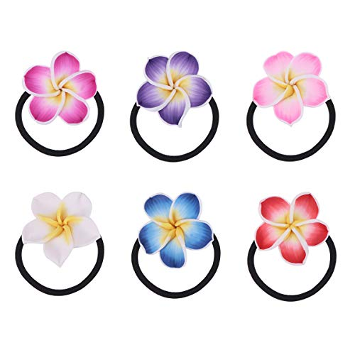 Lurrose 12PCS Plumeria Hair Ties Soft Ceramic Hair Ring Flower Hair Rope Black Rubber Band Flower Hair Bands for Girls