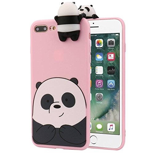 Voberry 3D Cartoon Animals Cute Bare Bears Soft Silicone Case For Iphone 7 Plus 5 5 Inch  Pink