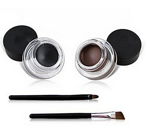 Hosaire Gel Eyeliner Cosmetics 2 in 1Black and Brown Cream Eye Liner Set Water Proof Smudge Proof