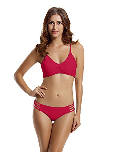 zeraca Women's Strap Side Bottom Halter Racerback Bikini Bathing Suits (S6, Freesia)