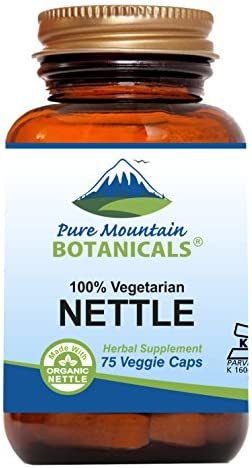 Stinging Nettle Leaf Capsules – 75 Kosher Vegan Caps – Made with 500mg Organic Stinging Nettles Leaf