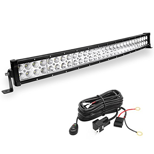 LED Light Bar YITAMOTOR 32 inches Curved Light Bar Off Road Lights and Free Wiring Harness Compatible for Truck, Jeep, Pickup, 4WD, 4X4, ATV, UTE, SUV, Boat, 180W Fog Driving - 32 Inch Four Wide Light