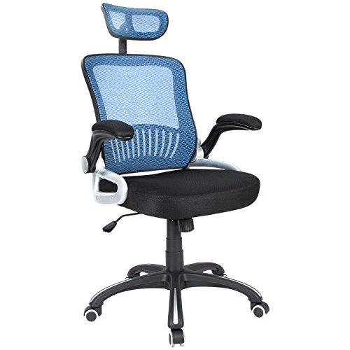 H&L Office Mid Back Blue Mesh Executive & Managerial Computer Desk Swivel Office Chair with Headrest and Flexible Arm Rest