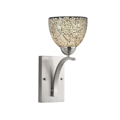 Satin Nickel Woodbridge Lighting 13051STN-M21WHT 6-Inch by 13-3//4-Inch by 8-Inch North Bay 1-Light Wall//Bath Sconce