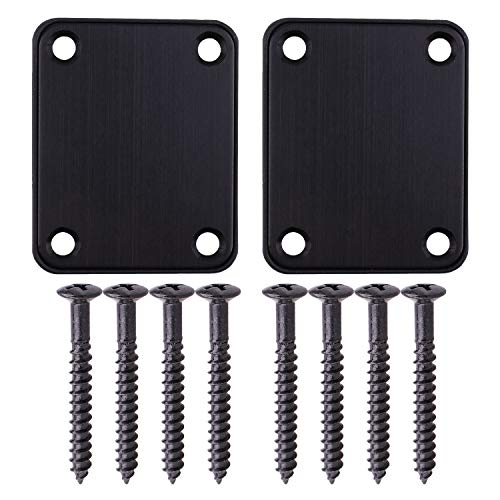 Guitar Neck Strength Plate 2PCS Black Aluminum Alloy Plastic Guitar Neck Strength Plate for Electric Guitars Cigar Box Guitar