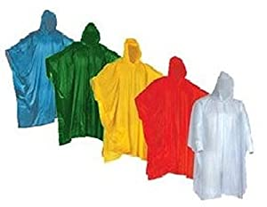 Wealers Poncho One Size Fit All with Hood 10 pieces in display box, 5 different colors 2 Red 2 Blue 2 White 2 Yellow 2 Green. Perfect to Keep in Emergency Kit, Backpack, Home, Office, Car, Pocket, In Case A Rainy Day.