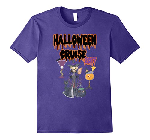 Pretty Witch Makeup (Mens Halloween Cruise 2017 T-Shirt-Witch and Cocktails Shirt Medium Purple)