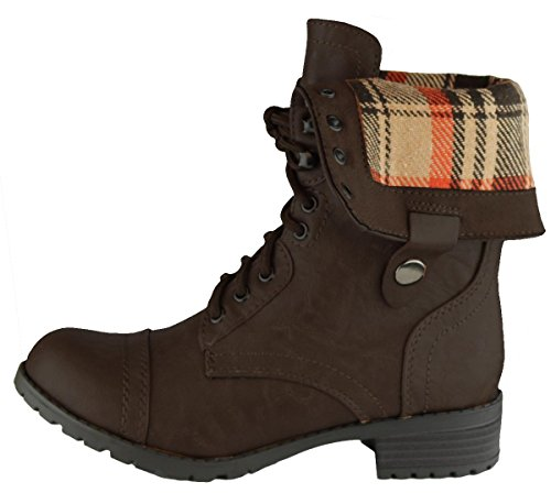 Boot Heel Stacked Chunky Women's Lace Up Combat Cambridge Over Pu Cuff Fold Dark Select Brown gPRzZqT