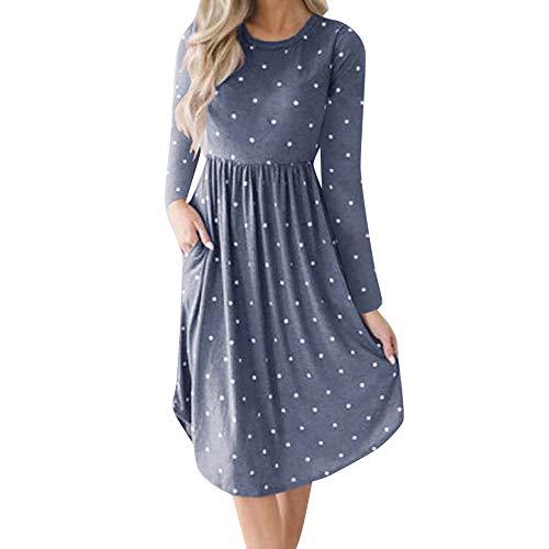 Women 2018 Printing Dress Evening Chanyuhui Sleeve Long Pockets Swing Blue Prom Womens Dress Stripe Party Dot Pockets qRRwnHdA4